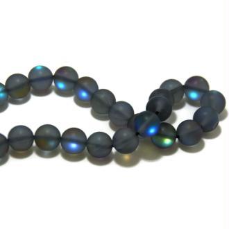5 Perles magiques en verre gris/irisé 10mm