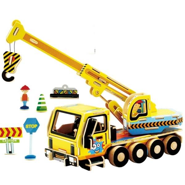camion grue - kit en bois - 74 pièces à assembler - 22x9x13 cm - à partir de 6 ans Robotime - Photo n°1