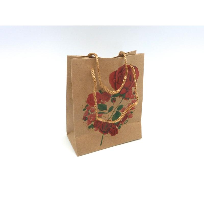 pochette cadeaux 11 x 14 5cm motif rose rouge soufflet en papier pais sac en kraft creavea. Black Bedroom Furniture Sets. Home Design Ideas