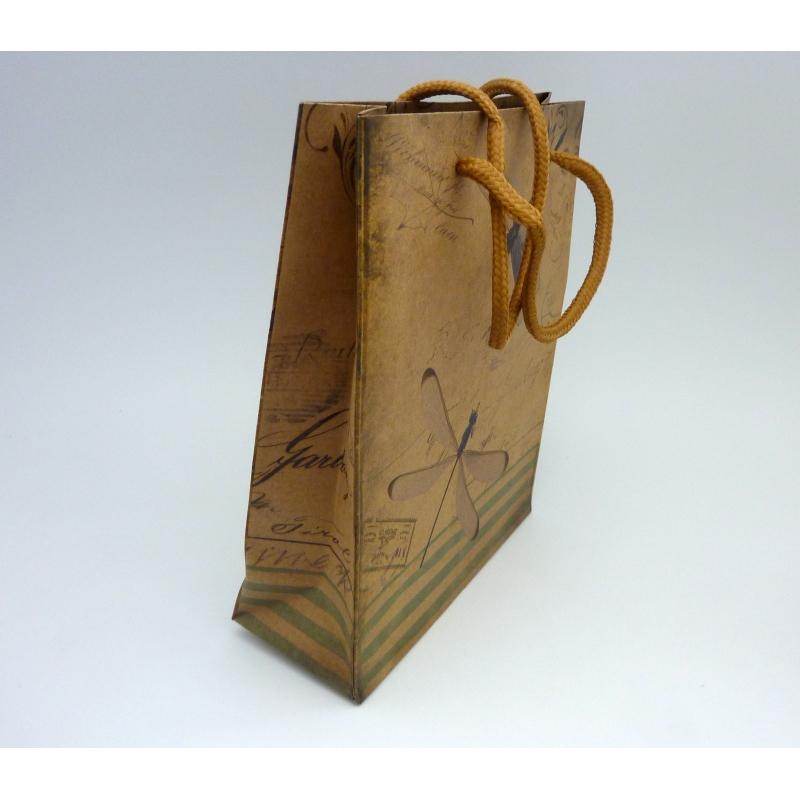 pochette cadeaux 19 x 15cm libellule soufflet en papier pais sac en kraft creavea. Black Bedroom Furniture Sets. Home Design Ideas