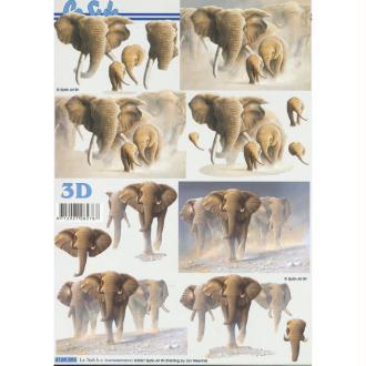 Feuille 3D à découper A4 éléphant