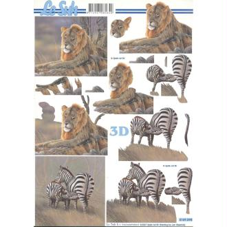 Feuille 3D à découper A4 Lion Zèbre