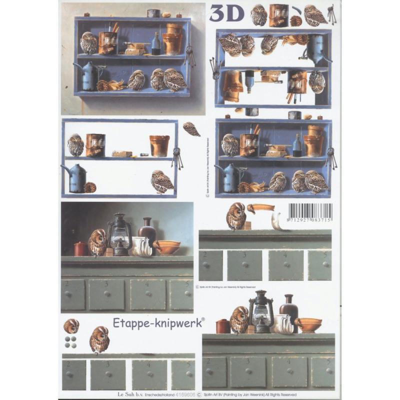 Feuille 3d d couper a4 cuisine oiseau chouette carte for 3d cuisine deluxe