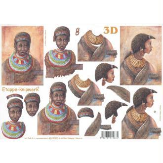 Feuille 3D à découper A4 Femme africaine