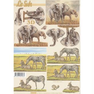 Feuille 3D à découper A4 éléphant Zèbre
