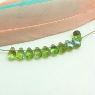 10 Perles Mini Gouttes en verre de Bohême Olivine AB - 6.5*4 mm