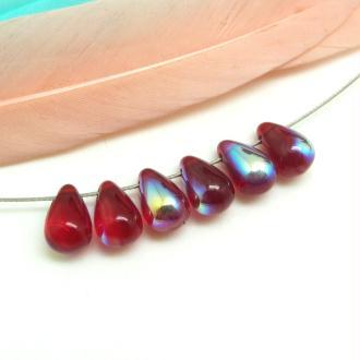 10 Perles Gouttes en verre de Bohême Rouge AB – 9*6 mm