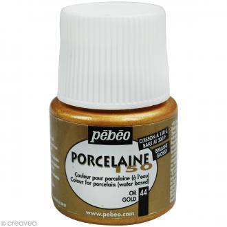 Peinture porcelaine P150 effet brillant Or - 45 ml