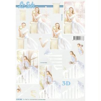 Feuille 3D à découper A4 Mariage Mariée