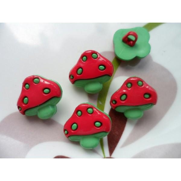 LOT 6 BOUTONS : champignon rouge/vert 18mm - Photo n°1
