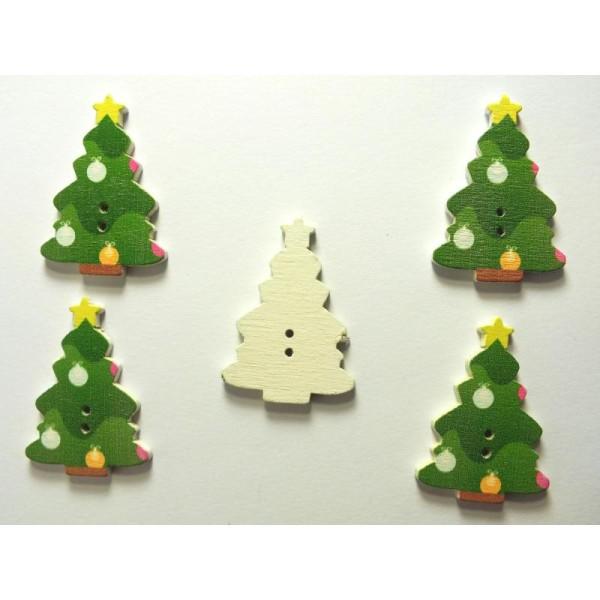 LOT 5 BOUTONS BOIS : sapin Noël 35*25mm (n°06) - Photo n°1