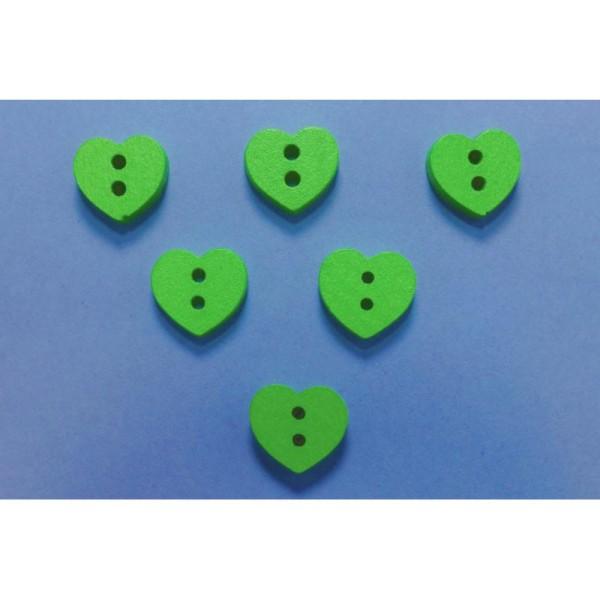 LOT 6 BOUTONS BOIS : coeur vert 12mm - Photo n°1