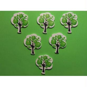 LOT 6 BOUTONS BOIS : arbre avec des pommes vertes 30*25mm