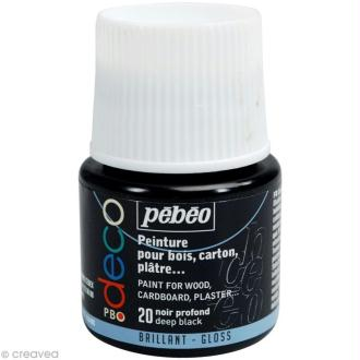 Peinture P.BO Déco 45 ml - brillant - Noir profond