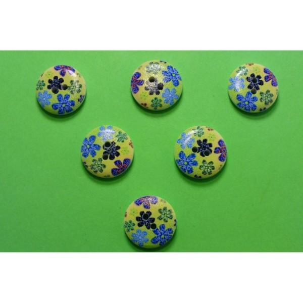 LOT 6 BOUTONS BOIS : rond motif fleur 18mm (n°15) - Photo n°1