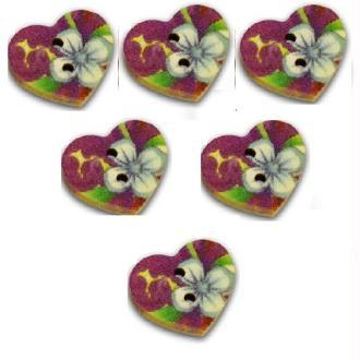 LOT 6 BOUTONS BOIS : coeur motif fleur 17mm (n°4)