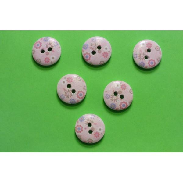 rond motif Smiley 24mm Boutique disacrea LOT 6 BOUTONS BOIS /à coudre