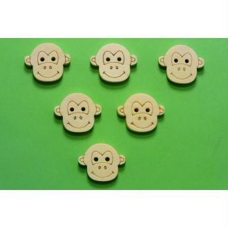 LOT 6 BOUTONS BOIS : tête de singe 20mm