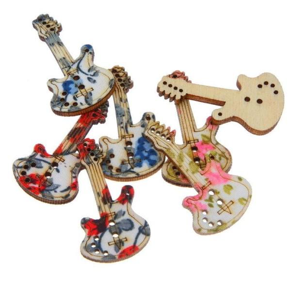 LOT 6 BOUTONS BOIS : guitare motif fleur rose/rouge et bleu 34*19mm - Photo n°1