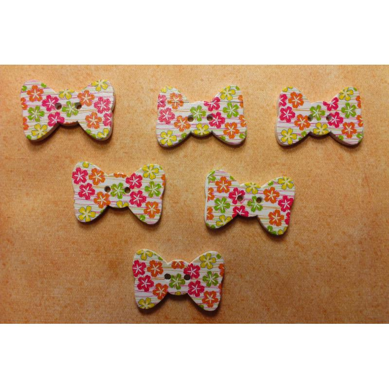 lot 6 boutons bois noeud papillon motif fleur 30 19mm. Black Bedroom Furniture Sets. Home Design Ideas