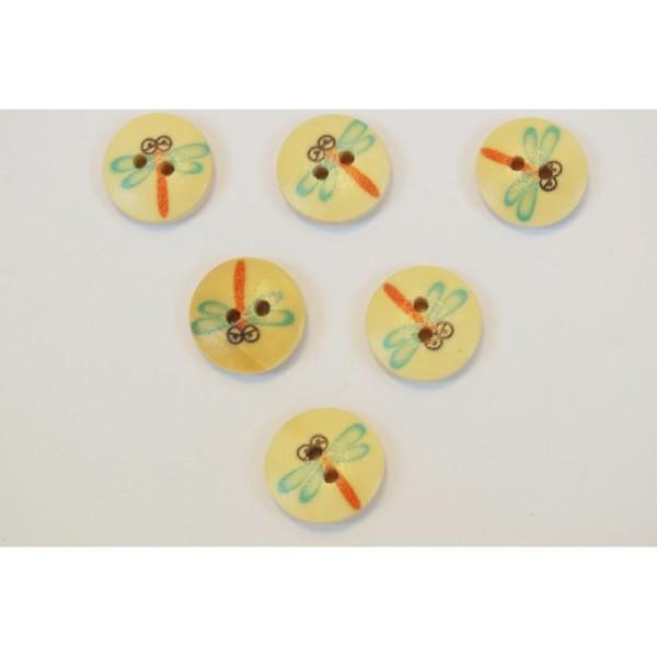 Multicolore Boutons Libellule en Bois 16mm Lot de 10