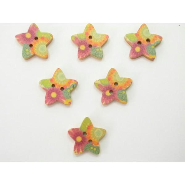 LOT 6 BOUTONS BOIS : etoile motif fleur 17mm (n°01) - Photo n°1