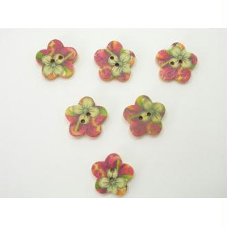 LOT 6 BOUTONS BOIS : fleur motif fleur 17mm (n°03)
