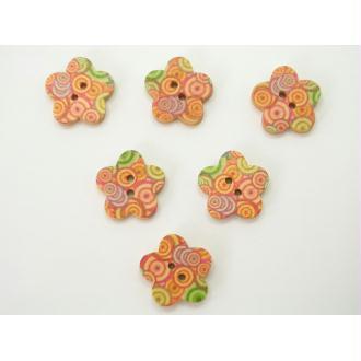 LOT 6 BOUTONS BOIS : fleur motif cercles 17mm
