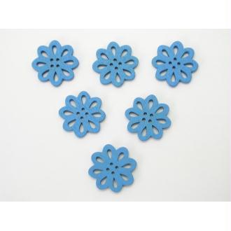 LOT 6 BOUTONS BOIS : fleur ajouree bleu 20mm