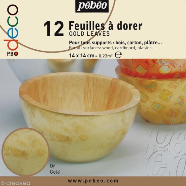 Feuille à dorer Pébéo - or x 12 - Photo n°1