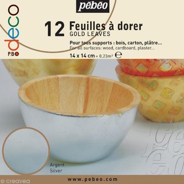 Feuille à dorer Pébéo - argent x 12 - Photo n°1