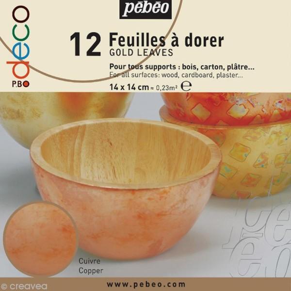 Feuille à dorer Pébéo - cuivre x 12 - Photo n°1
