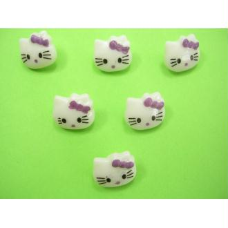 LOT 6 BOUTONS : Kitty blanc/mauve 13mm