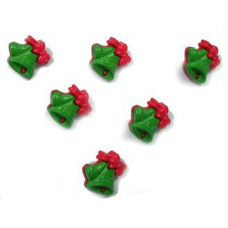 LOT 6 BOUTONS : cloche verte/rouge 17mm