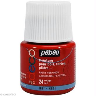 Peinture P.BO Déco 45 ml - mat - Rouge