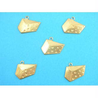 LOT  5 CHARMS METALS DORES : gruyere 20 mm