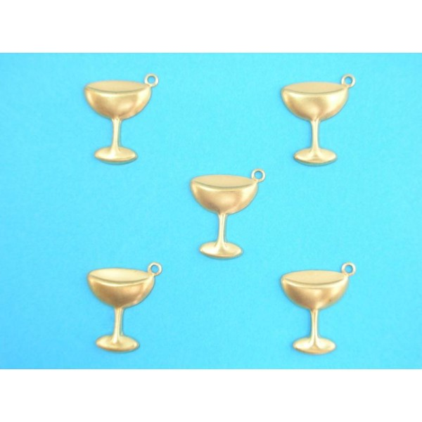 LOT  5 CHARMS METALS DORES : Coupe champagne 16 mm - Photo n°1