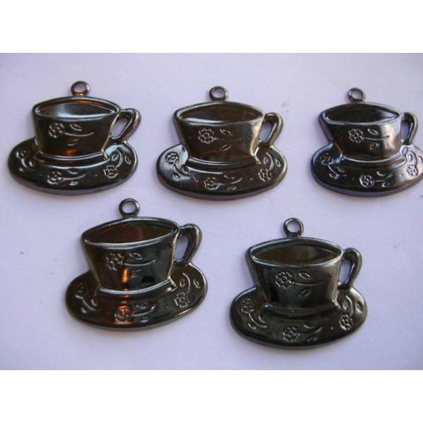 LOT  5 CHARMS METALS NOIRS  : Tasse à café 20mm - Photo n°1