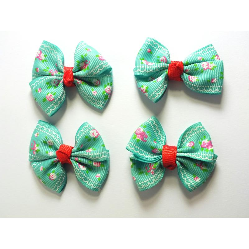 lot 4 appliques tissu noeud papillon motif fleur. Black Bedroom Furniture Sets. Home Design Ideas