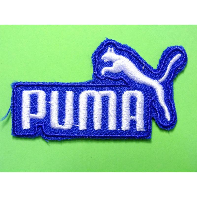 APPLIQUE TISSU THERMOCOLLANT : Puma bleu/blanc 60*30mm - Etiquette thermocollante - Creavea