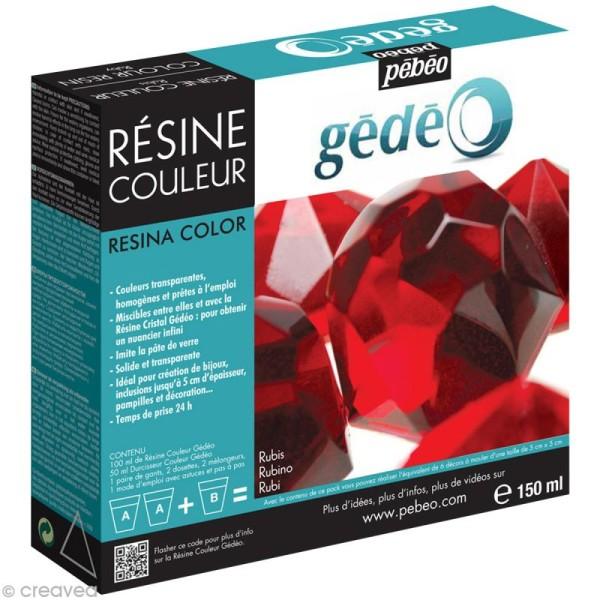 Résine Gédéo couleur - kit Rouge rubis 150 ml - Photo n°1