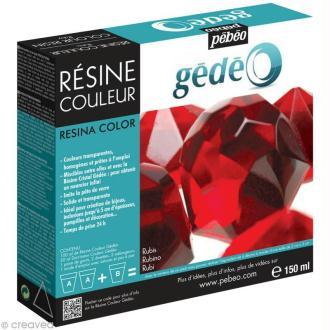 Résine Gédéo couleur - kit Rouge rubis 150 ml