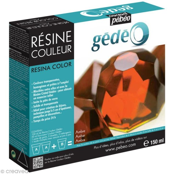 Résine Gédéo couleur - kit Orange ambre 150 ml - Photo n°1
