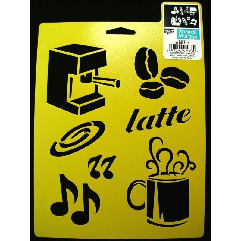 Pochoir vinyle jaune 23 18cm ambiance caf pochoir for Ambiance et tradition cuisine