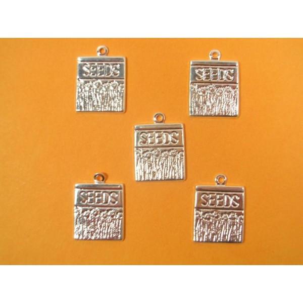 LOT  5 CHARMS METALS : sachet de graines 15mm - Photo n°1