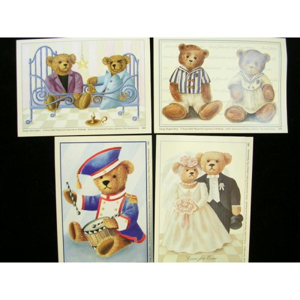 LOT DE 4 CARTES CARTONNES 9*13CM : les oursons (n° 2) - Photo n°1