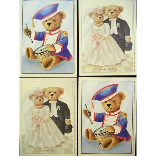 LOT DE 4 CARTES CARTONNES 9*13CM : ourson mariés et musicien - Photo n°1