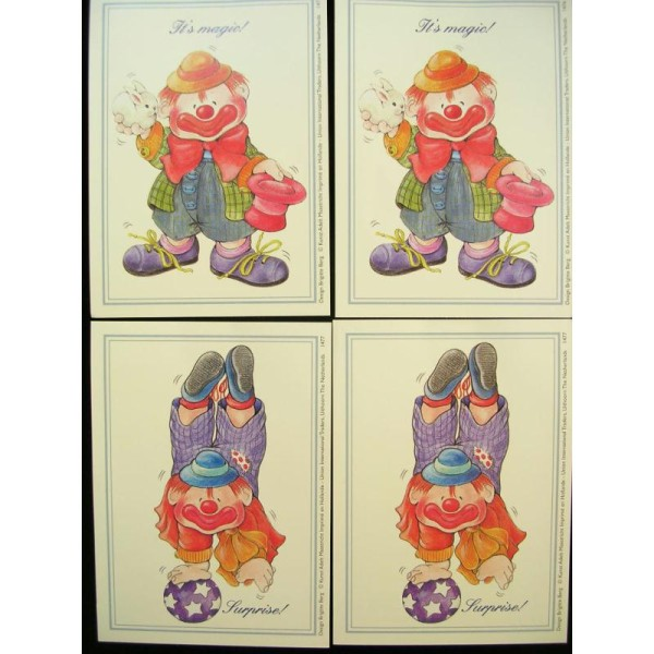 LOT DE 4 CARTES CARTONNES 9*13CM : clown - Photo n°1