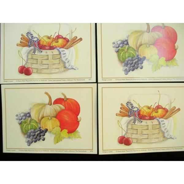 LOT DE 4 CARTES CARTONNES 9*13CM : panier pommes et potiron - Photo n°1