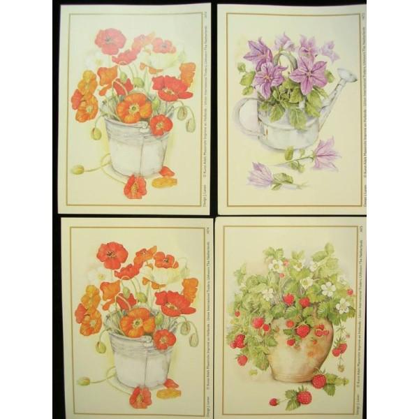 LOT DE 4 CARTES CARTONNES 9*13CM : fleur rouge et mauve, fraisier - Photo n°1